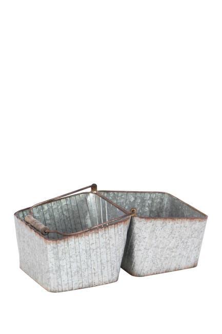 Image of Willow Row Silver Farmhouse Iron Double Bucket Basket