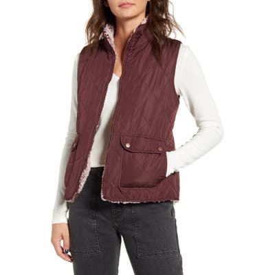 Thread & Supply Wubby Reversible Fleece Lined Quilted Vest, Burgundy