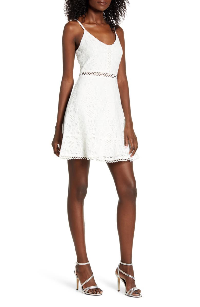 SPEECHLESS Lace Skater Dress, Main, color, IVORY
