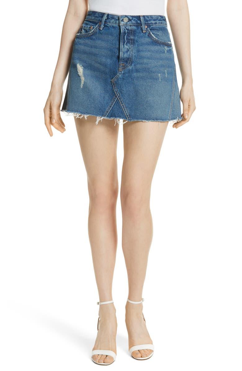 GRLFRND Eva Denim A-Frame Gusset Skirt, Main, color, 400