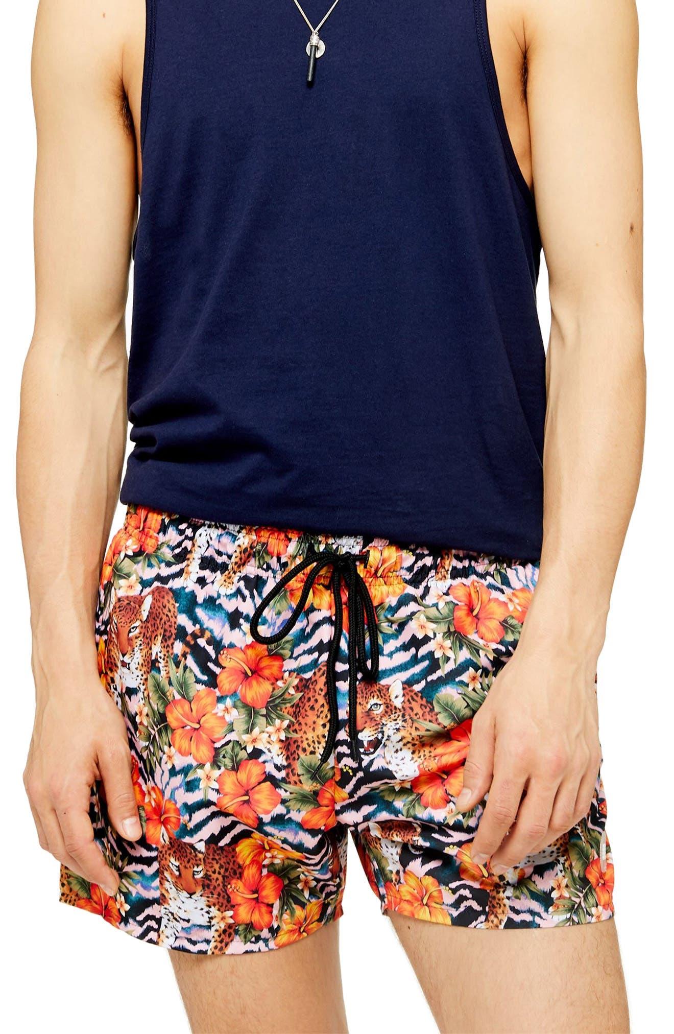 Topman Leopard Floral Swim Shorts, Orange