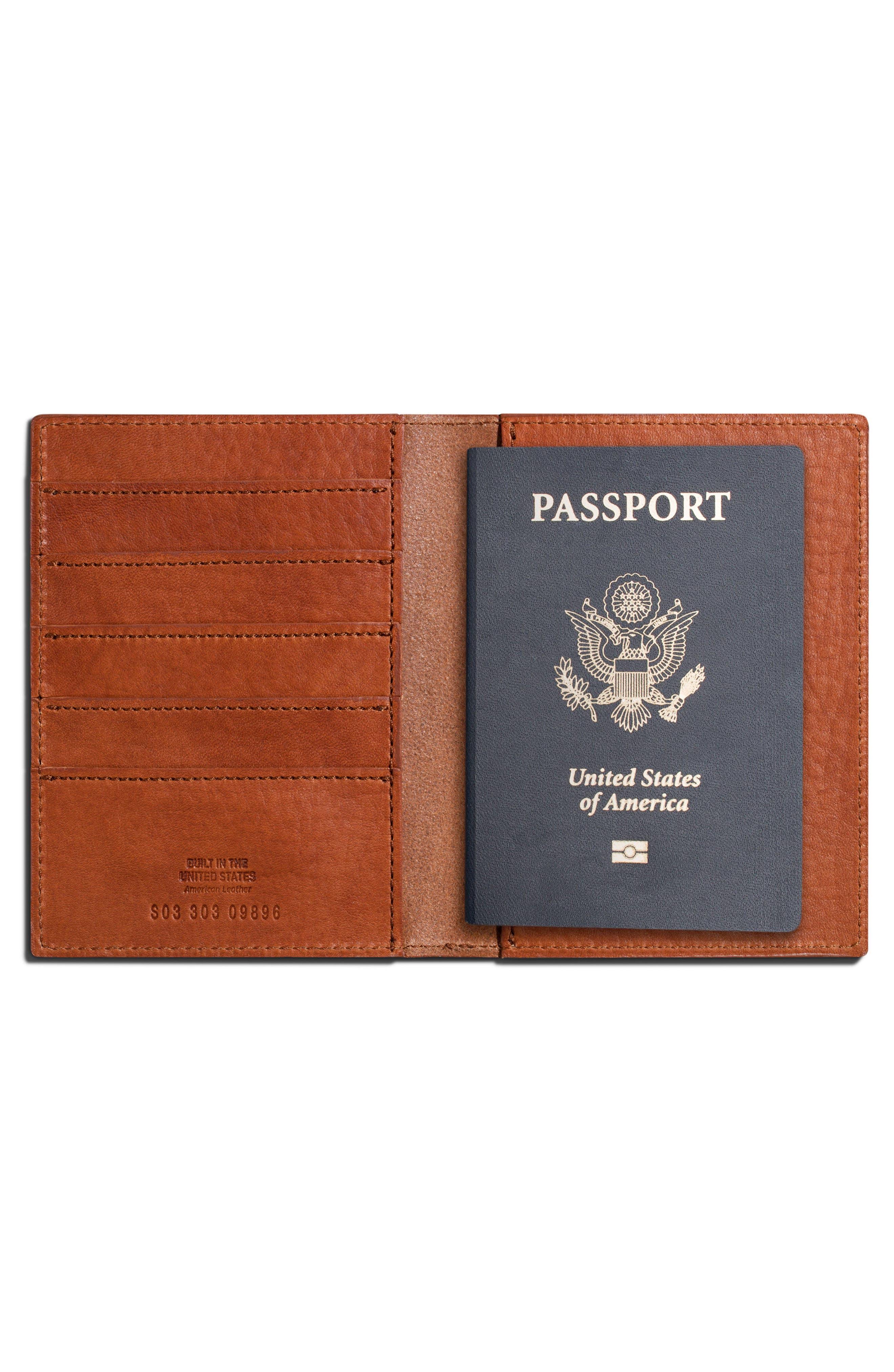 ,                             Leather Passport Wallet,                             Alternate thumbnail 3, color,                             BOURBON