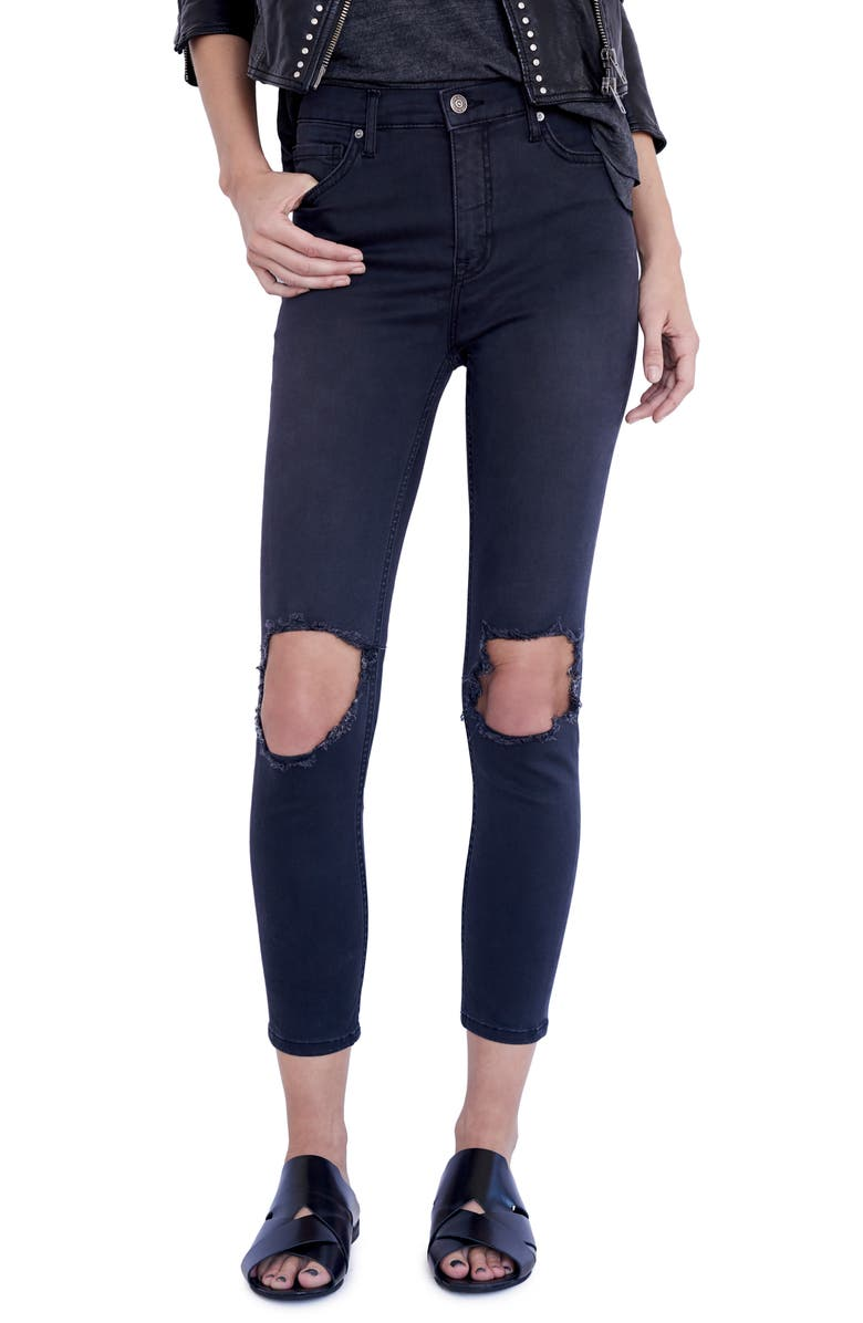 FREE PEOPLE We the Free by Free People High Rise Busted Knee Skinny Jeans, Main, color, CARBON