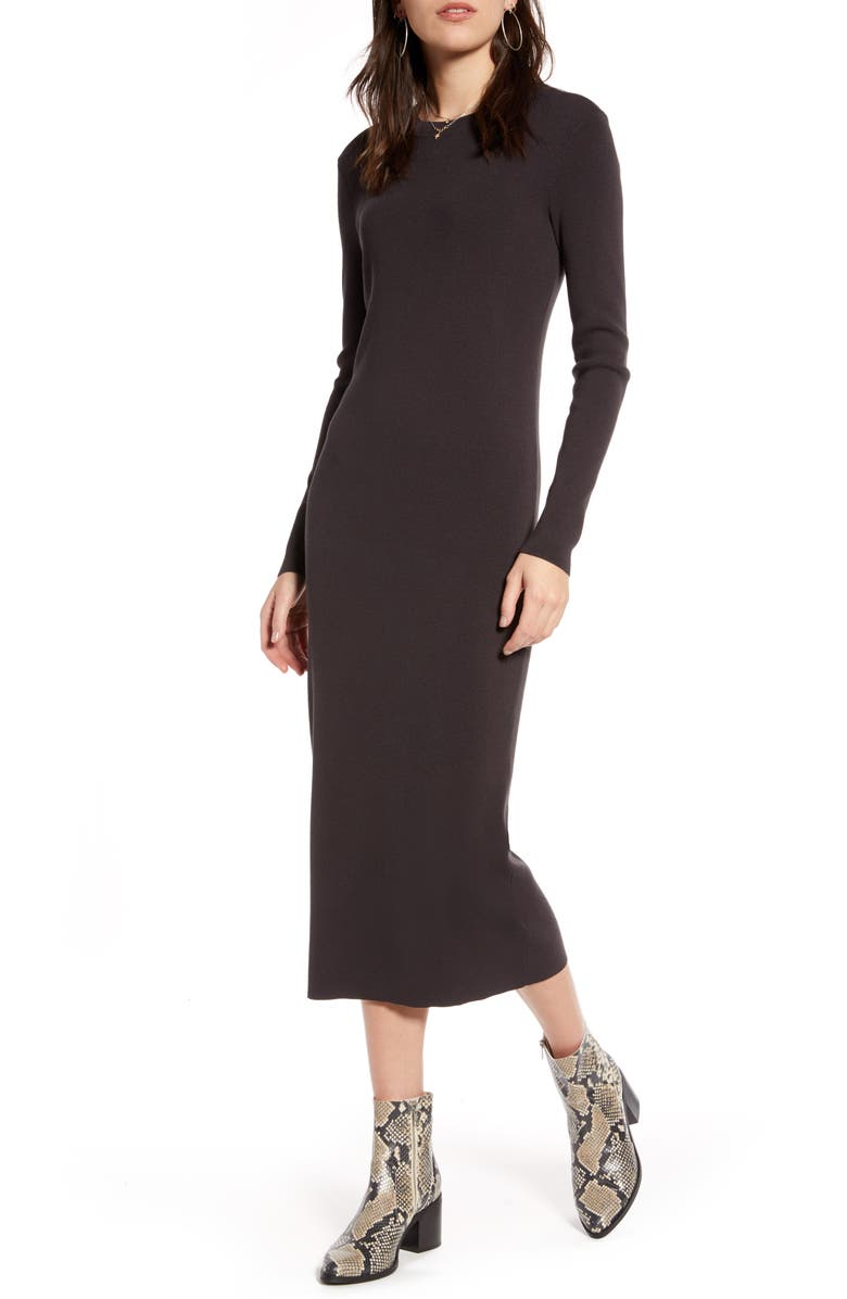 TREASURE & BOND Crewneck Long Sleeve Midi Sweater Dress, Main, color, GREY PHANTOM