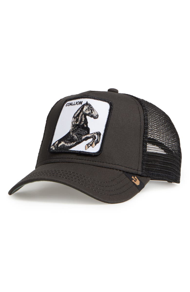 GOORIN BROS. Stallion Trucker Hat, Main, color, BLACK