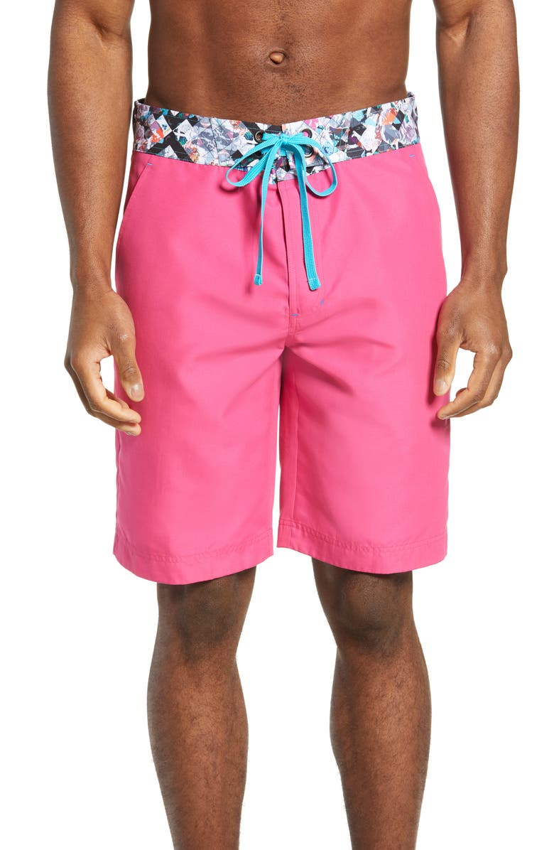 ROBERT GRAHAM Suliman Board Shorts, Main, color, MAGENTA