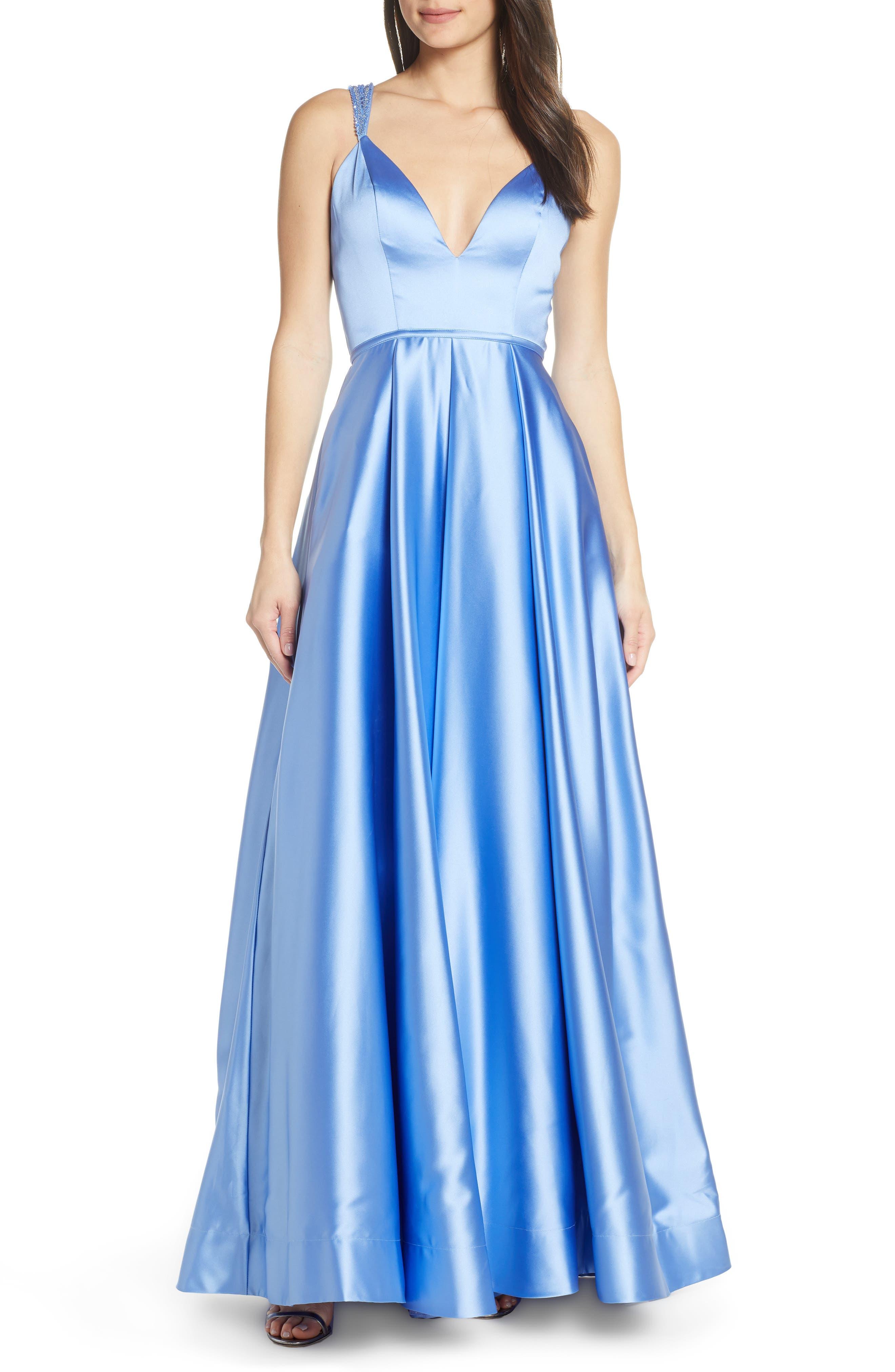 MAC Duggal Beaded Strap Satin Evening Dress, Blue