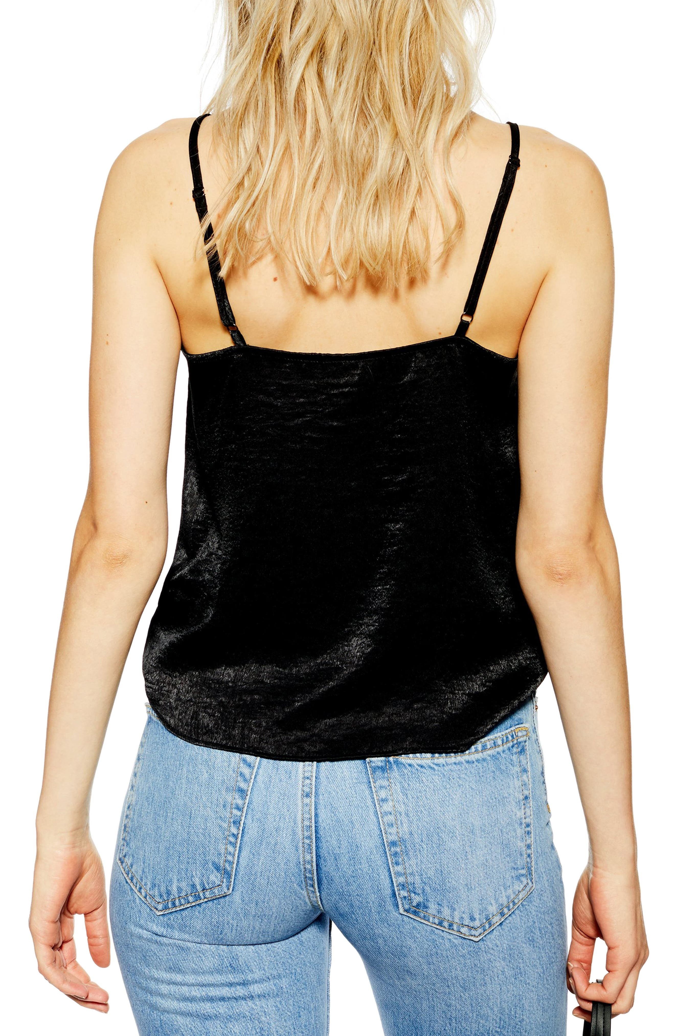 ,                             Lace Trim Camisole,                             Alternate thumbnail 2, color,                             BLACK