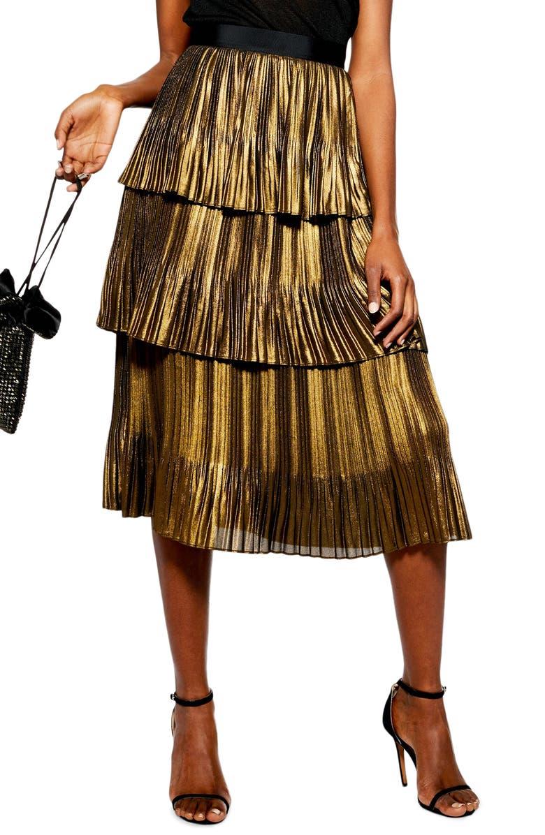 TOPSHOP Metallic Tiered Midi Skirt, Main, color, Gold