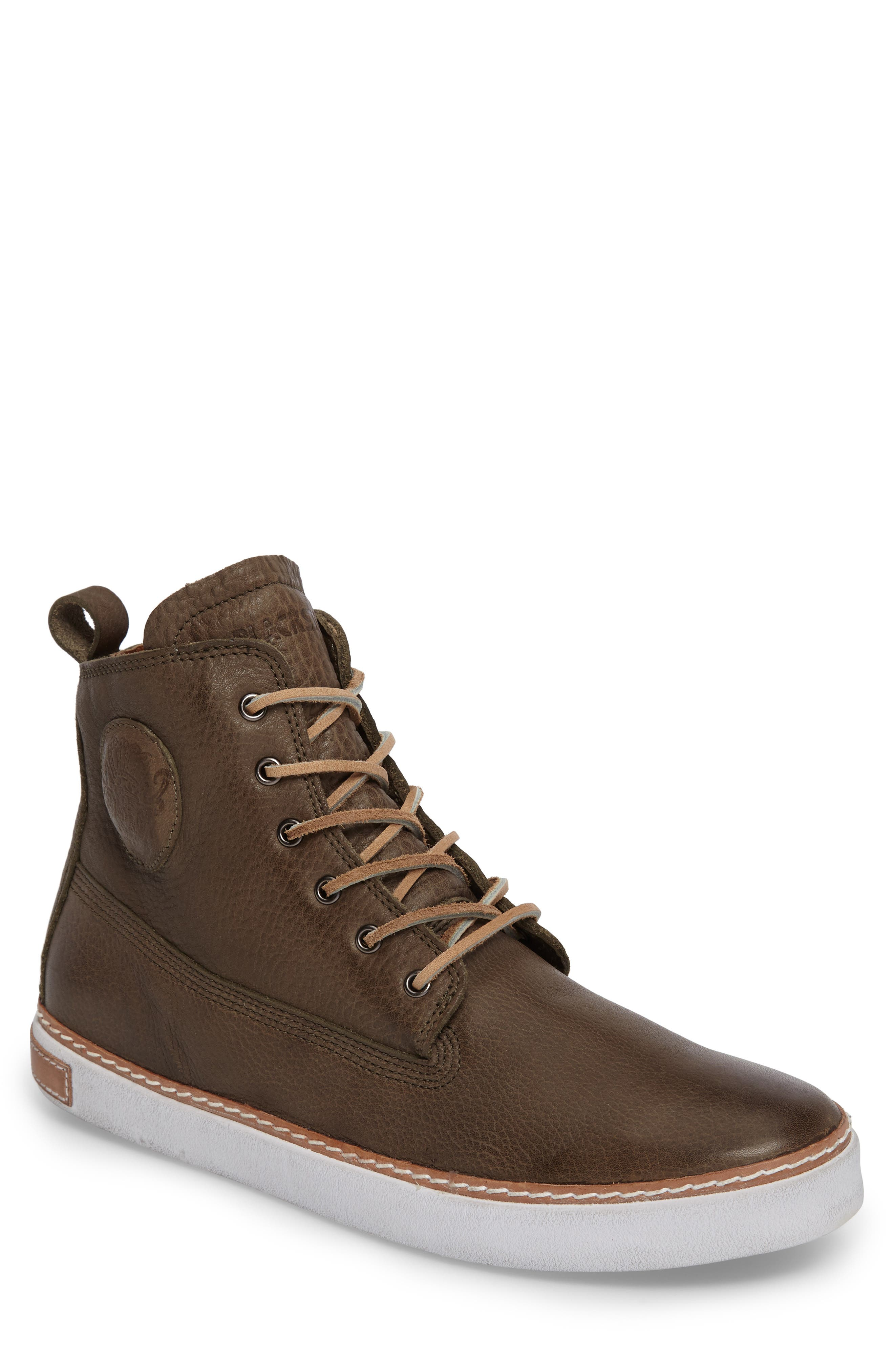 Hearty, durable leather enriches a high-top sneaker outfitted with bold brass hardware for eye-catching shine. Style Name: Blackstone \\\'Am02\\\' Sneaker (Men). Style Number: 5253403 5. Available in stores.