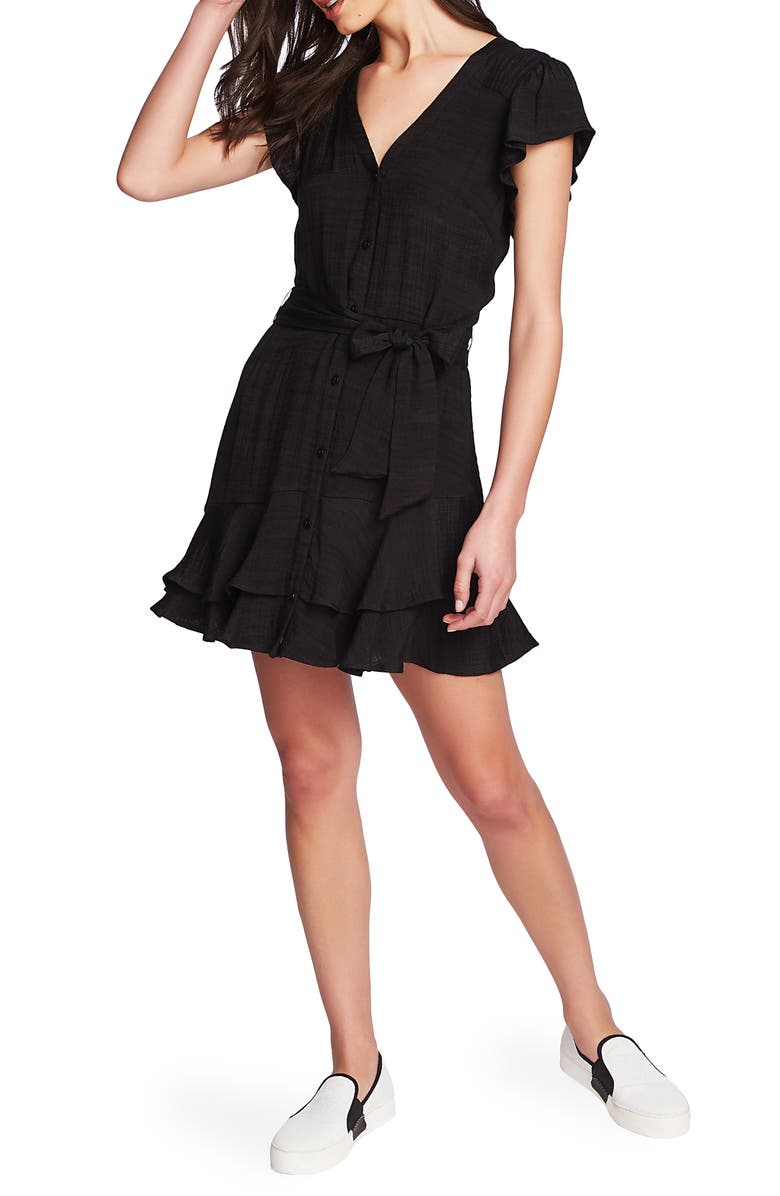 1.STATE Asymmetrical Ruffle Fit & Flare Dress, Main, color, 001