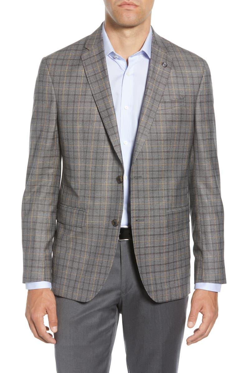 TED BAKER LONDON Konan Trim Fit Plaid Wool Sport Coat, Main, color, SAND