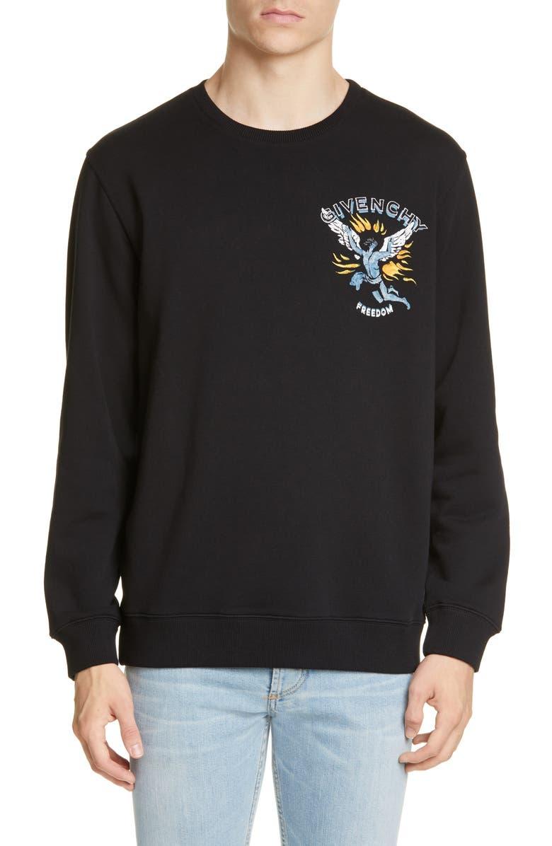GIVENCHY Icarus Graphic Crewneck Sweatshirt, Main, color, 001