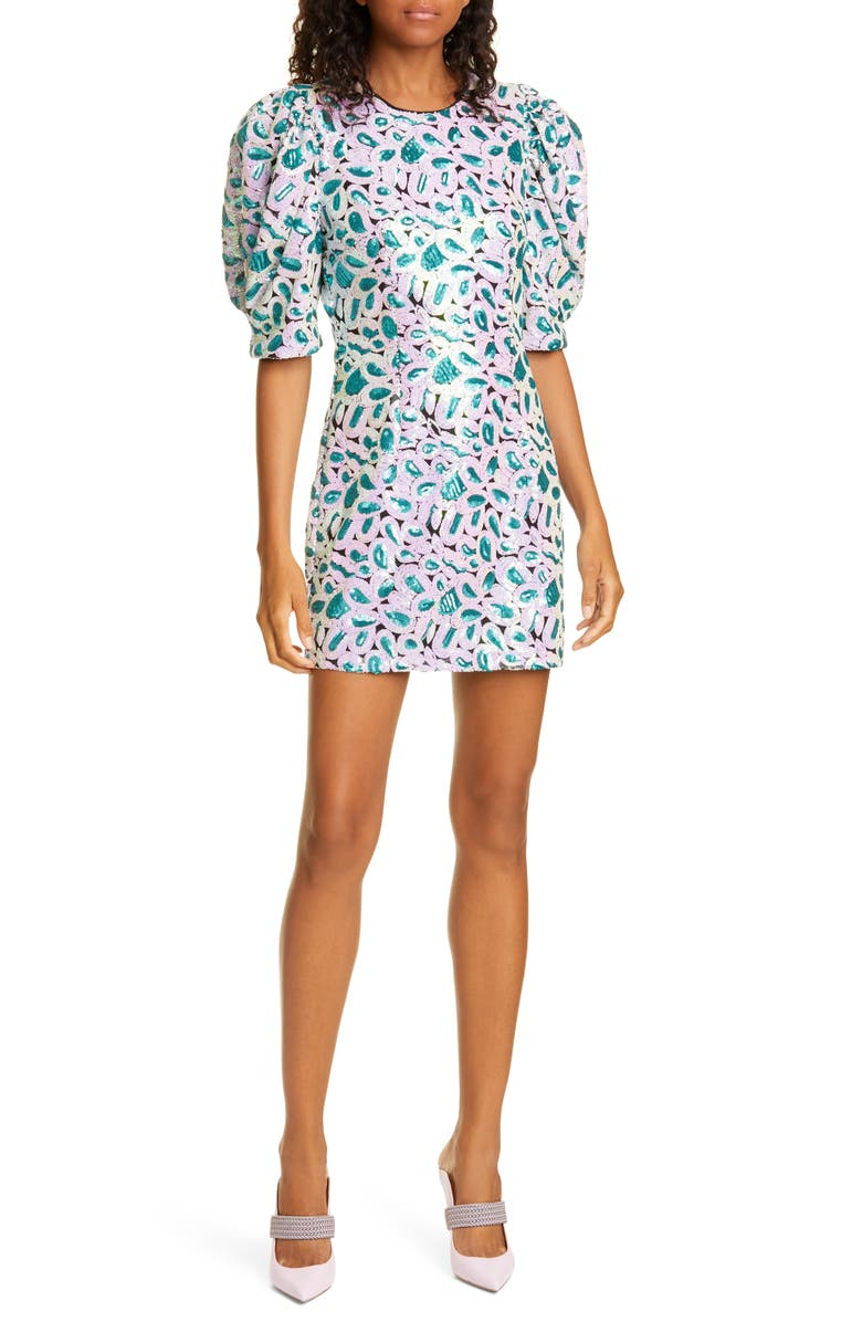 ROTATE Christina Sequin Puff Sleeve Minidress, Main, color, ORCHID ICE COMBO