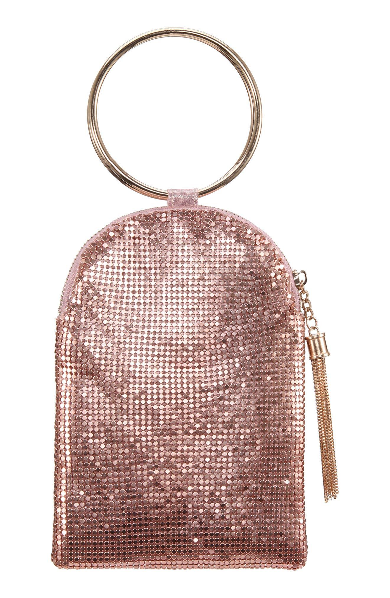 Vintage Handbags, Purses, Bags *New* Nina Metallic Mesh Handbag - Pink $58.00 AT vintagedancer.com