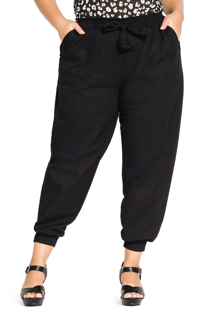 CITY CHIC Relaxed Tie Waist Pants, Main, color, BLACK