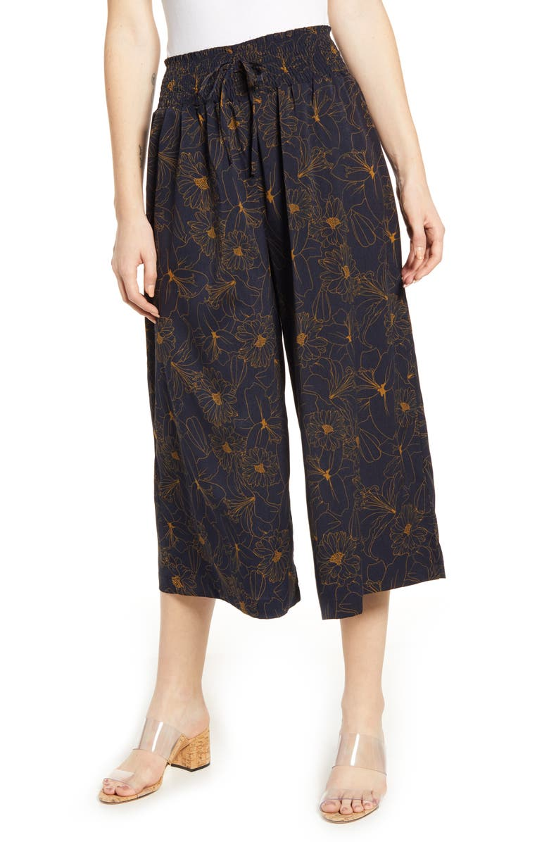 BISHOP + YOUNG Desert Zen Crop Pants, Main, color, NAVY PRINT