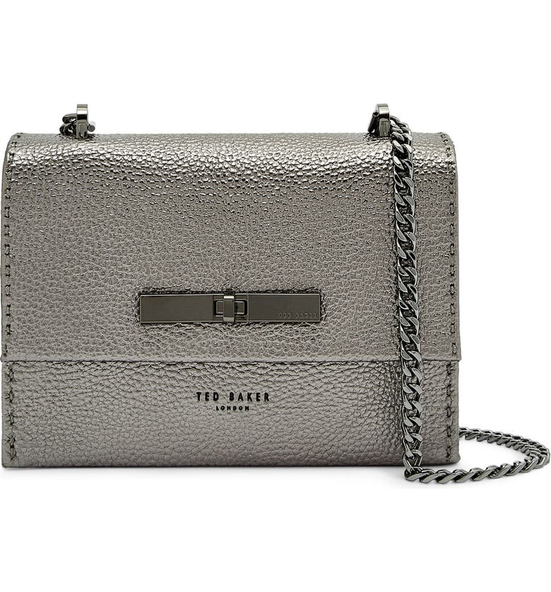 TED BAKER LONDON Mini Juliah Concertina Leather Crossbody Bag, Main, color, 020