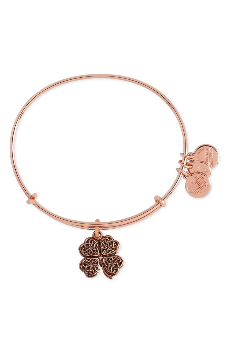 ALEX AND ANI Four-Leaf Clover Adjustable Wire Bangle, Main, color, ROSE GOLD