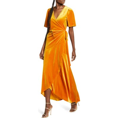 Leith Velour Maxi Wrap Dress, Orange