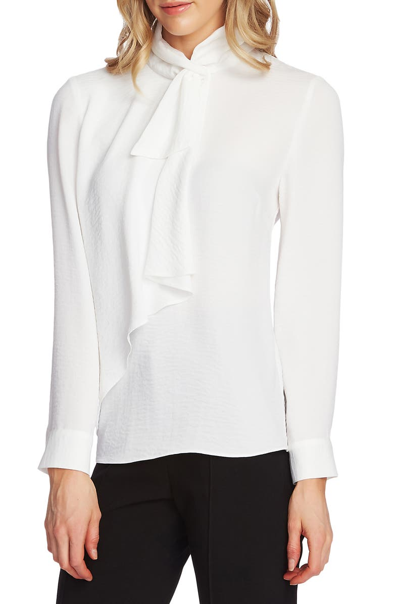 VINCE CAMUTO Tie Neck Ruffle Top, Main, color, PEARL IVORY