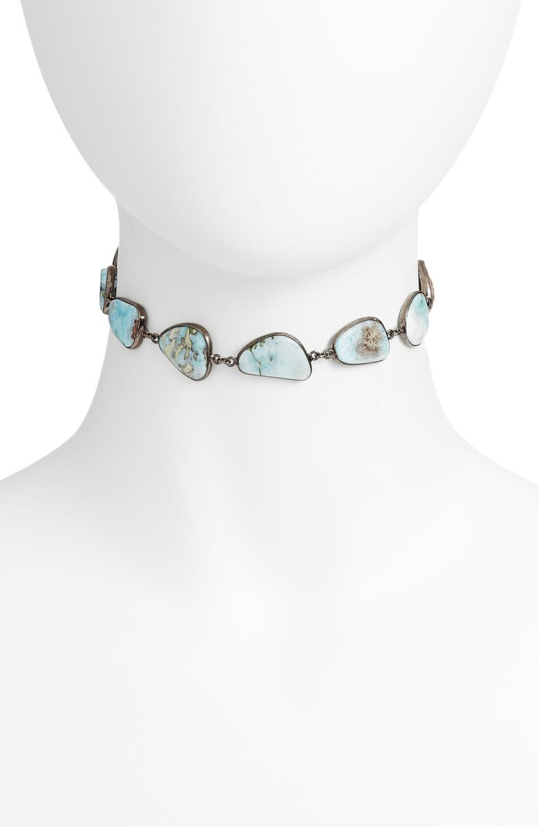 ELA RAE Sadie Collar Necklace, Main, color, LARIMAR