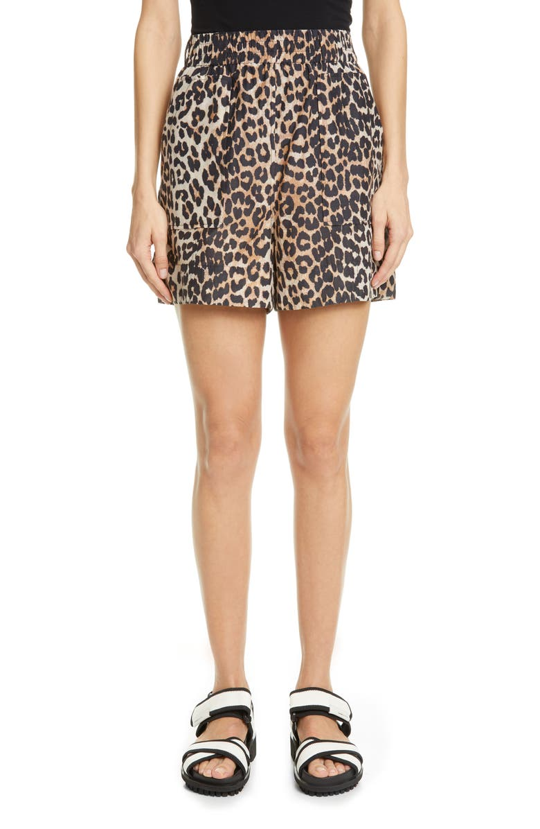 GANNI Leopard Print Cotton & Silk Shorts, Main, color, LEOPARD