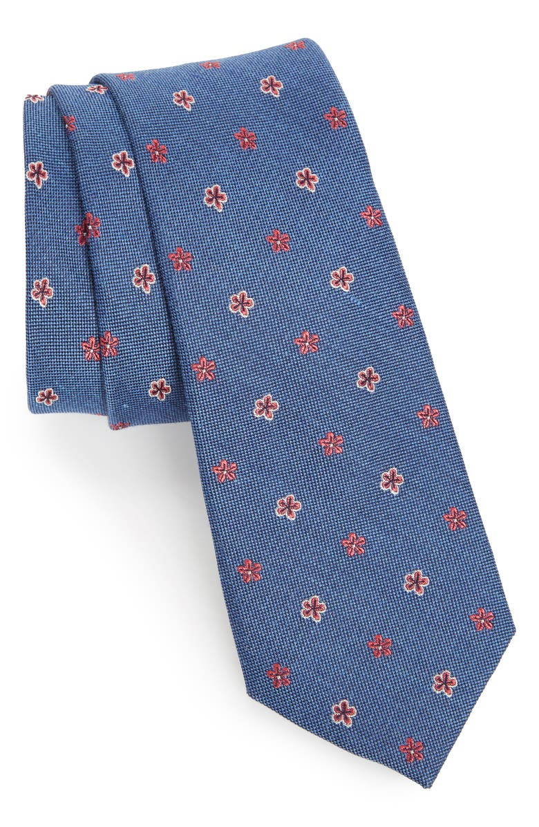 NORDSTROM MEN'S SHOP Essex Floral Silk Blend Tie, Main, color, BLUE