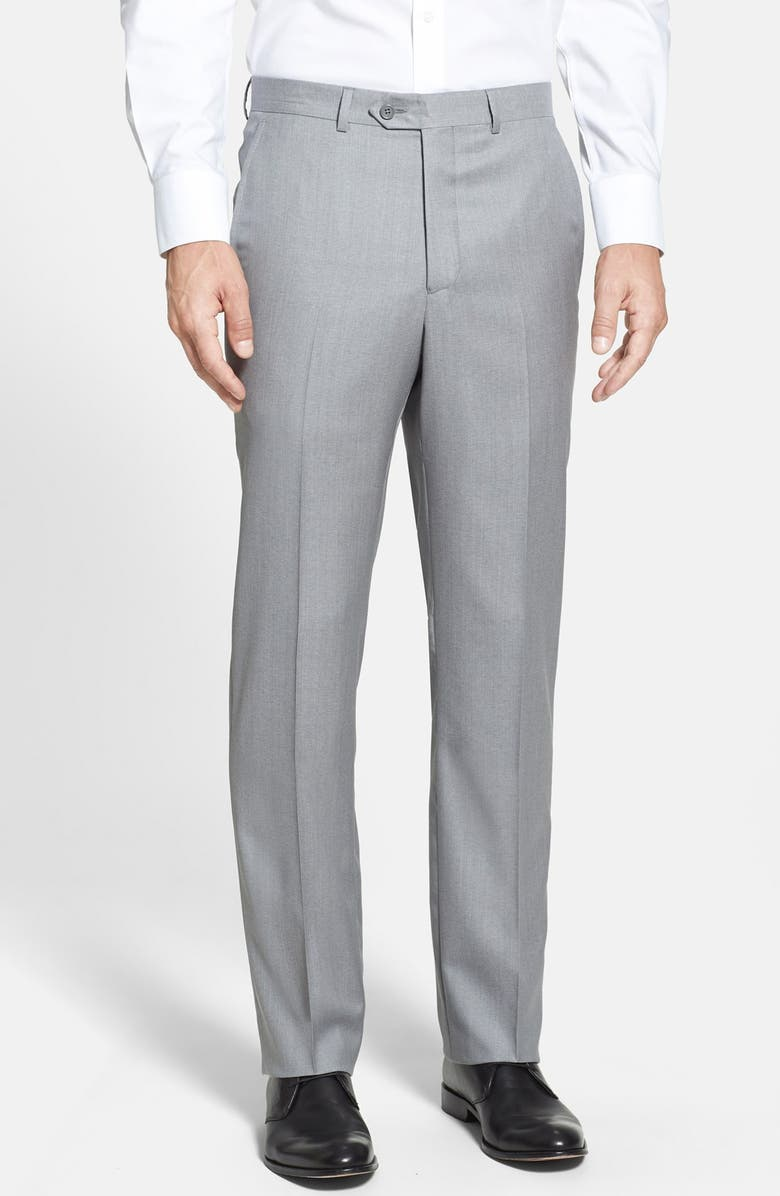 SANTORELLI Luxury Flat Front Wool Dress Pants, Main, color, LIGHT GREY