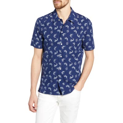 French Connection Koi Print Slim Fit Shirt, Blue