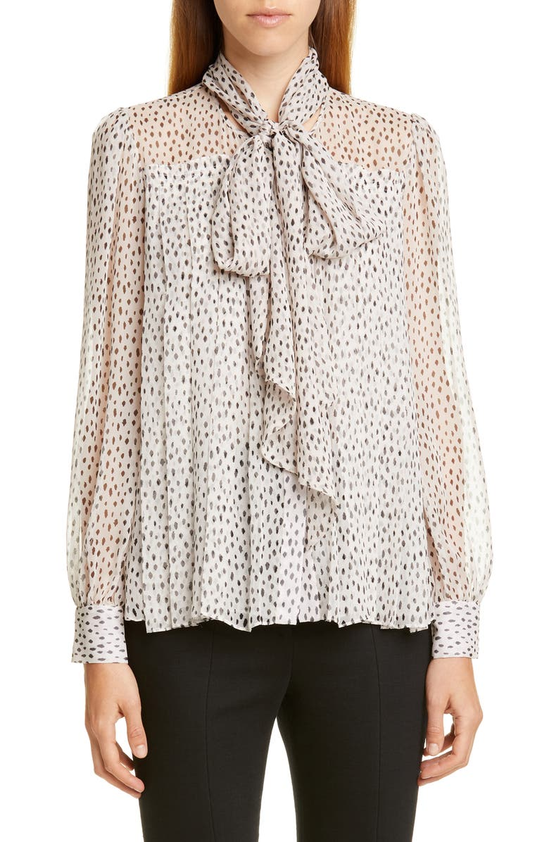 ADAM LIPPES Pleated Print Chiffon Blouse with Removable Tie, Main, color, IVORY/ BLACK