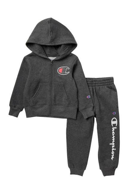 Image of Champion Logo Zip Hoodie & Sweatpants Set