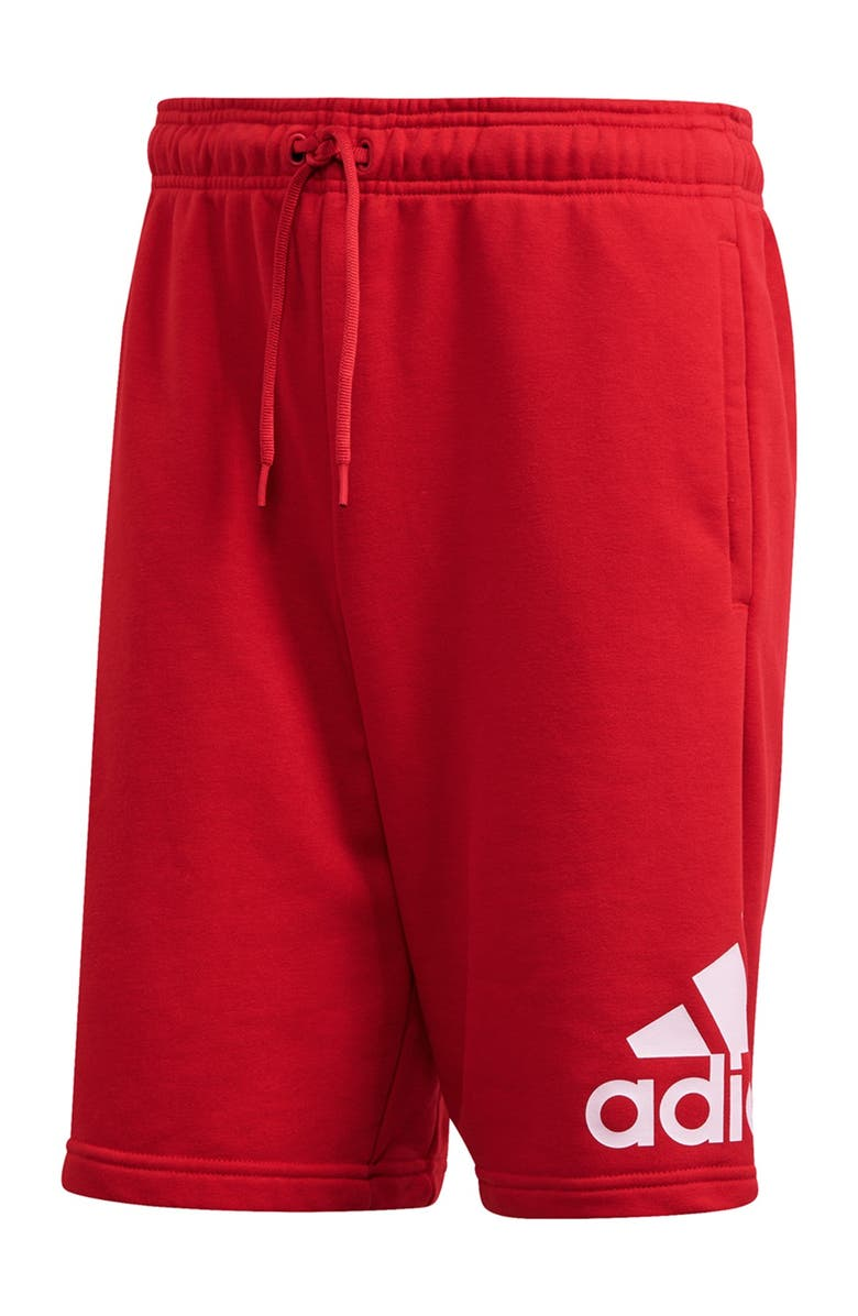 ADIDAS Must Have Badge of Sport Shorts, Main, color, SCARLET/WHITE