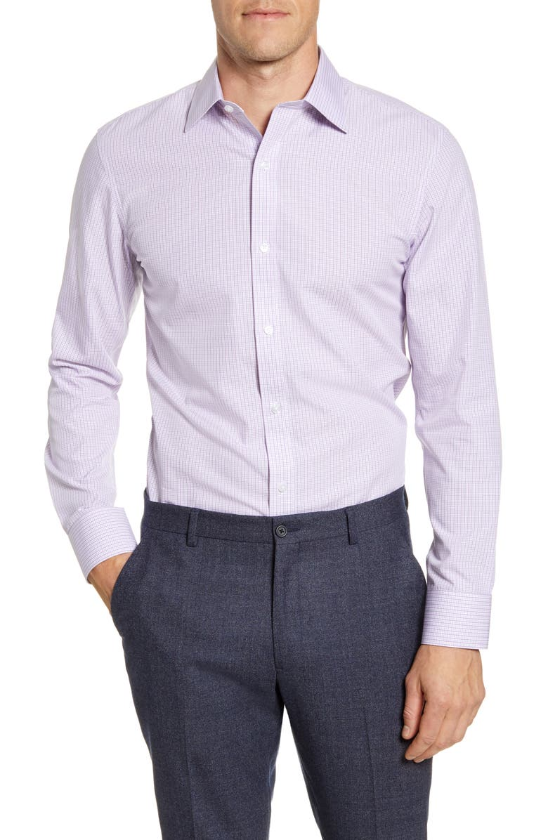 BONOBOS Trim Fit Check Dress Shirt, Main, color, 500
