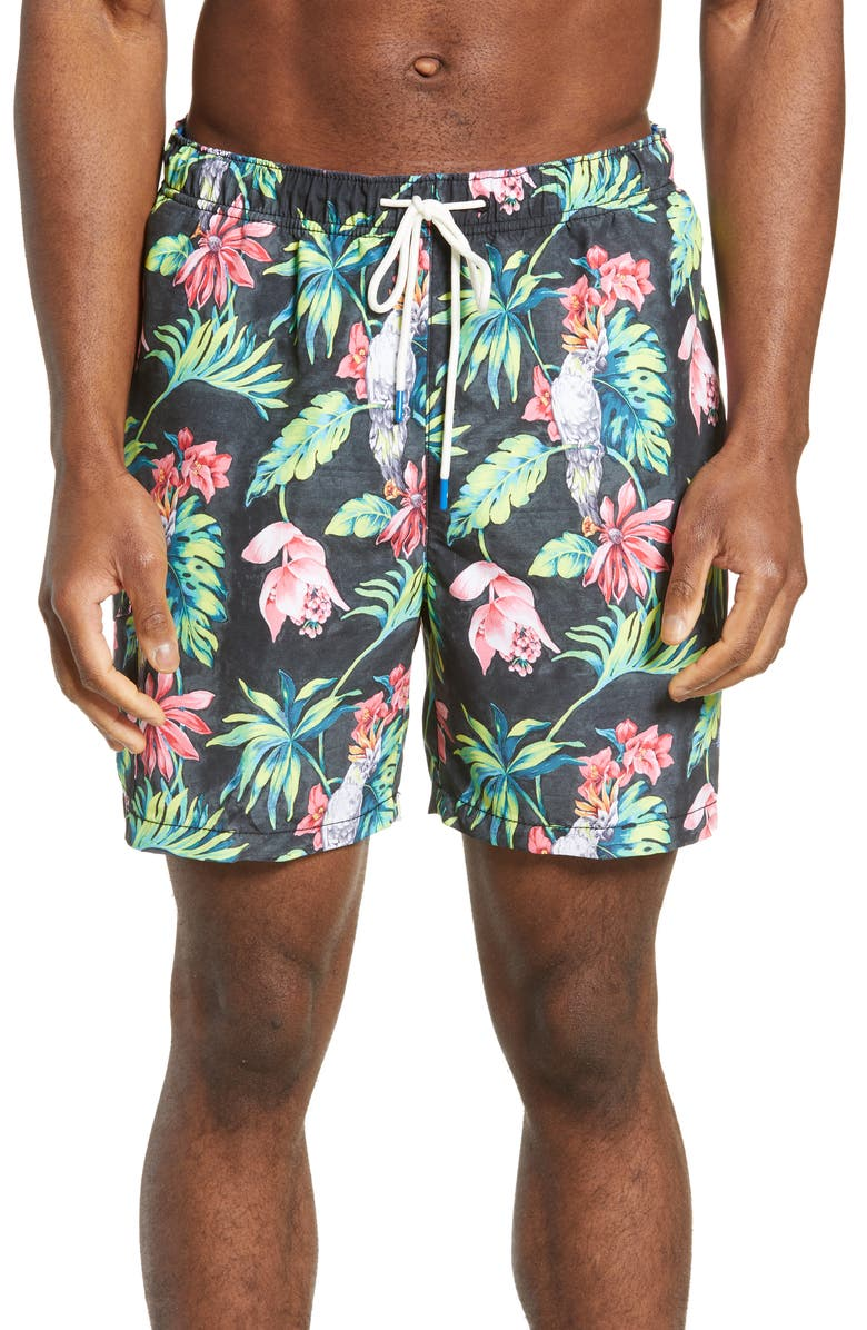 TOMMY BAHAMA Naples Tahitian Tweets Swim Trunks, Main, color, BLACK