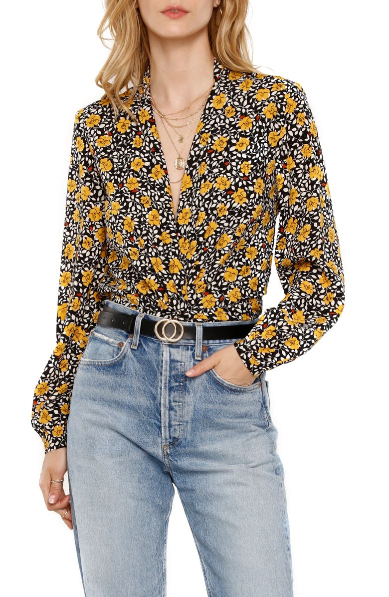 HEARTLOOM Camille Floral Print Faux Wrap Top, Main, color, 200