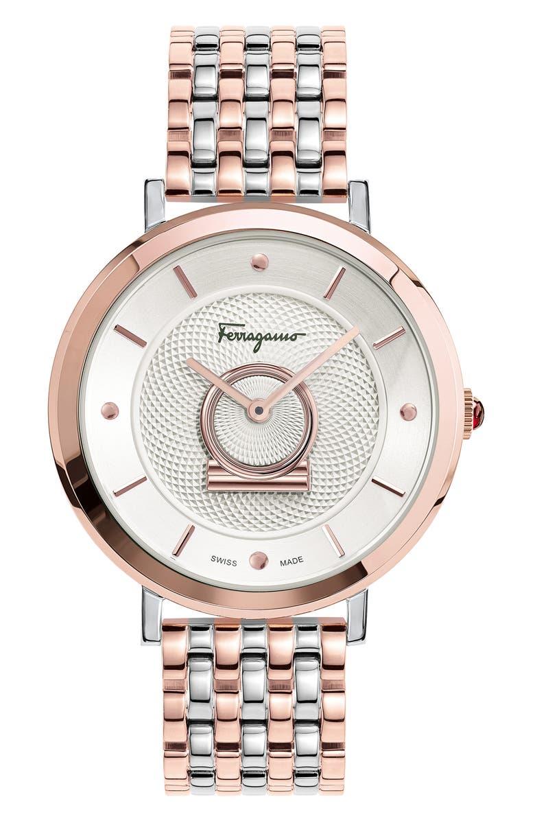 SALVATORE FERRAGAMO Minuetto Bracelet Watch, 36mm, Main, color, ROSE GOLD/ WHITE/ SILVER