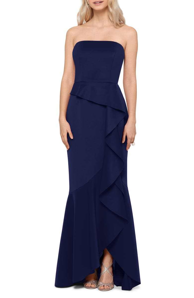 XSCAPE Strapless Ruffle Detail Scuba Crepe Gown, Main, color, INDIGO