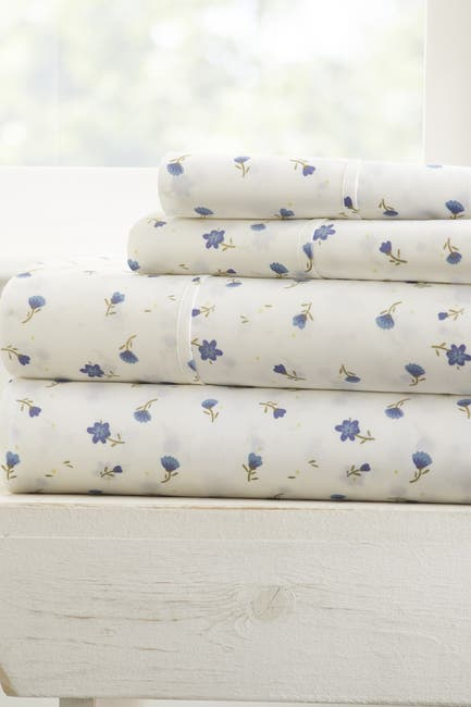 Image of IENJOY HOME The Home Spun Premium Ultra Soft Floral Pattern 4-Piece Queen Bed Sheet Set - Light Blue