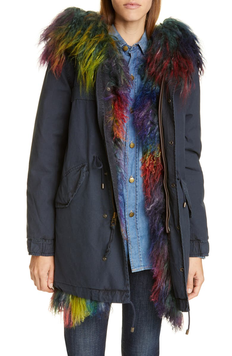 MR & MRS ITALY Genuine Shearling Trim Down Parka, Main, color, MIDNIGHT BLUE