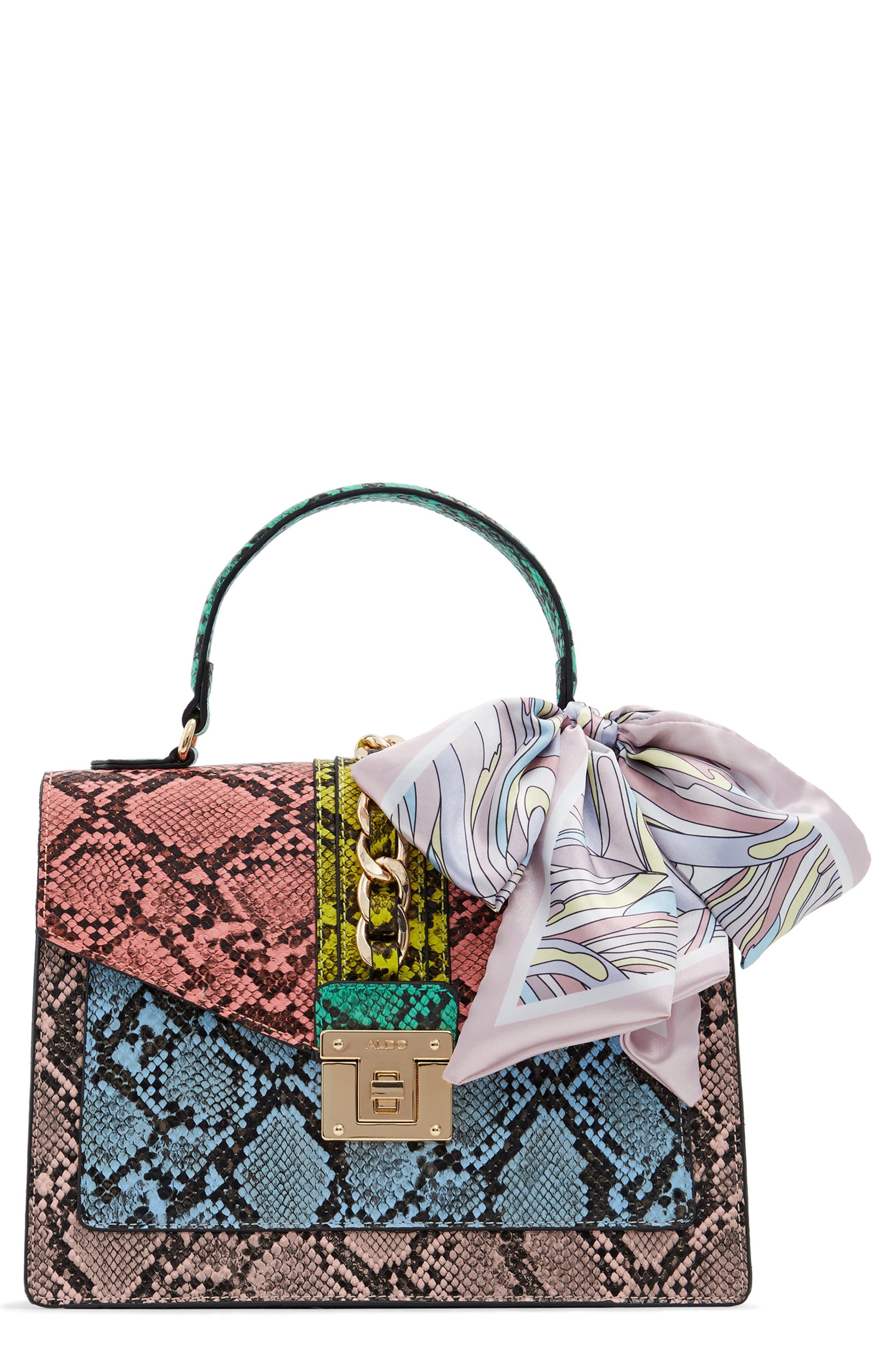 Glendaa Colorblock Snake Print Handbag