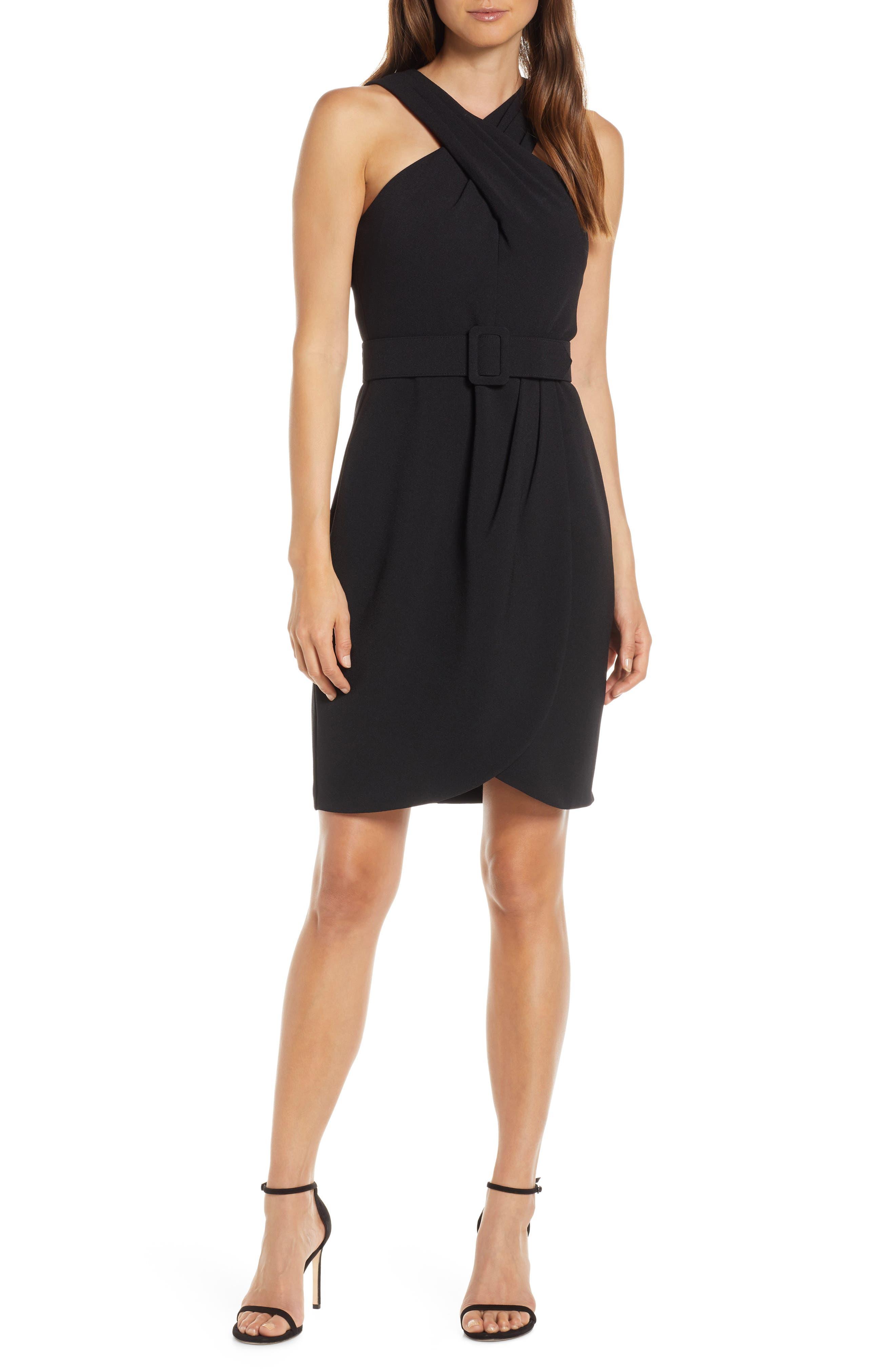 Eliza J Crepe Halter Dress, Black