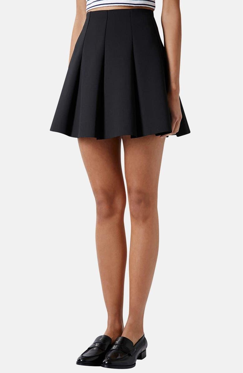TOPSHOP Pleated Scuba Skirt, Main, color, 001