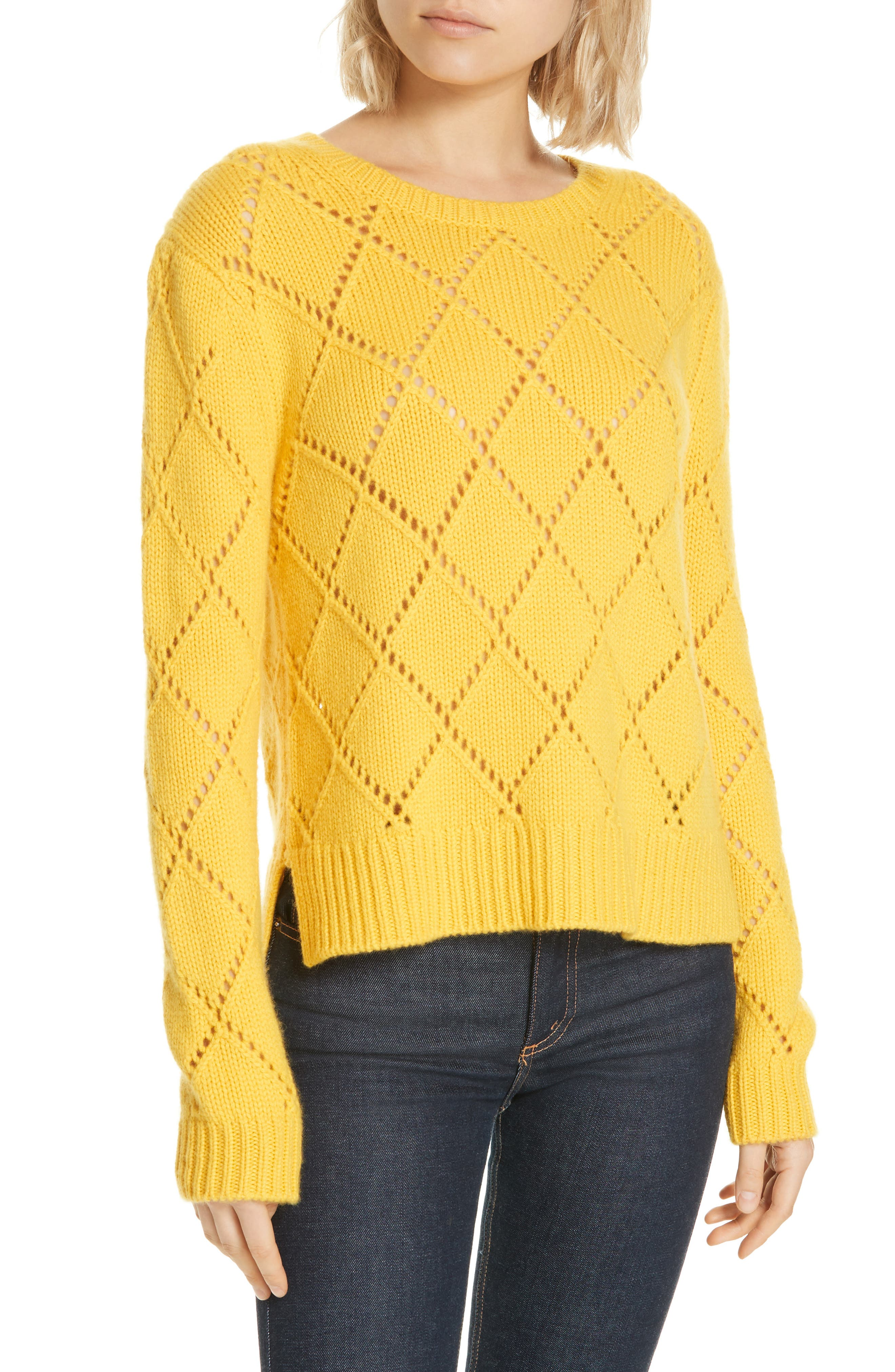 Cashmere Textured Harlequin Sweater, Main, color, YELLOW