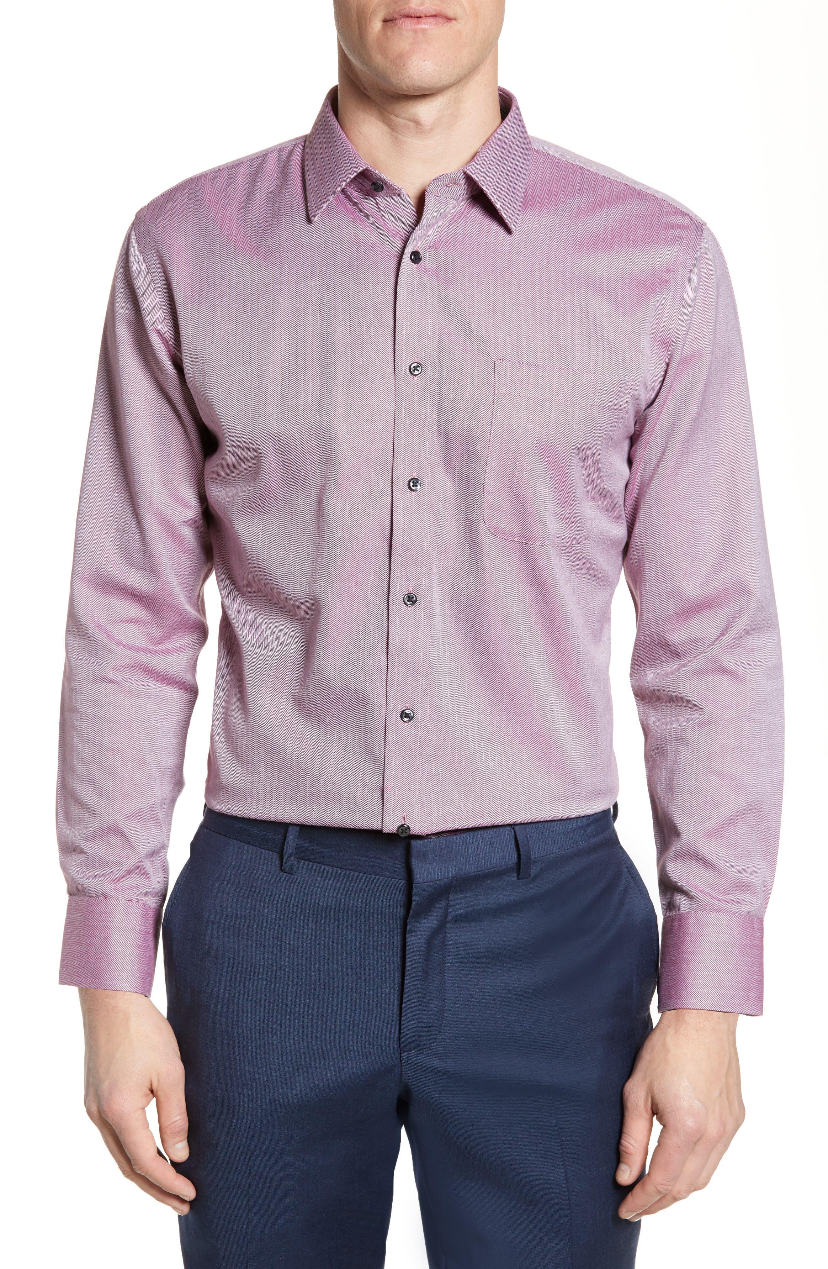 Nordstrom Shop Smartcare(TM) Trim Fit Herringbone Dress Shirt - Burgundy