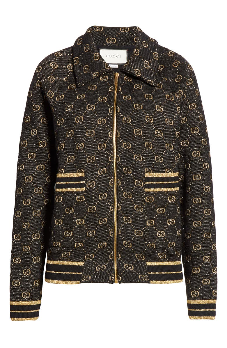 GUCCI GG Metallic Jacquard Wool Blend Bomber Jacket, Main, color, BLACK/ GOLD