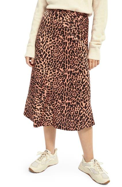 Image of Scotch & Soda Leopard Print Satin Bias Skirt