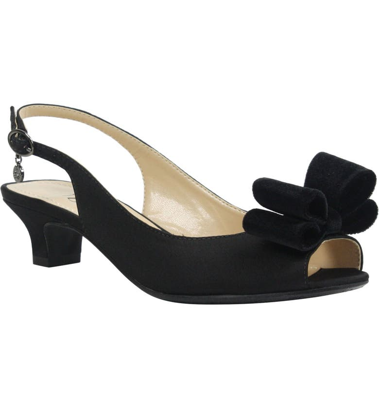 J. RENEÉ Landan Bow Slingback Sandal, Main, color, BLACK SATIN FABRIC