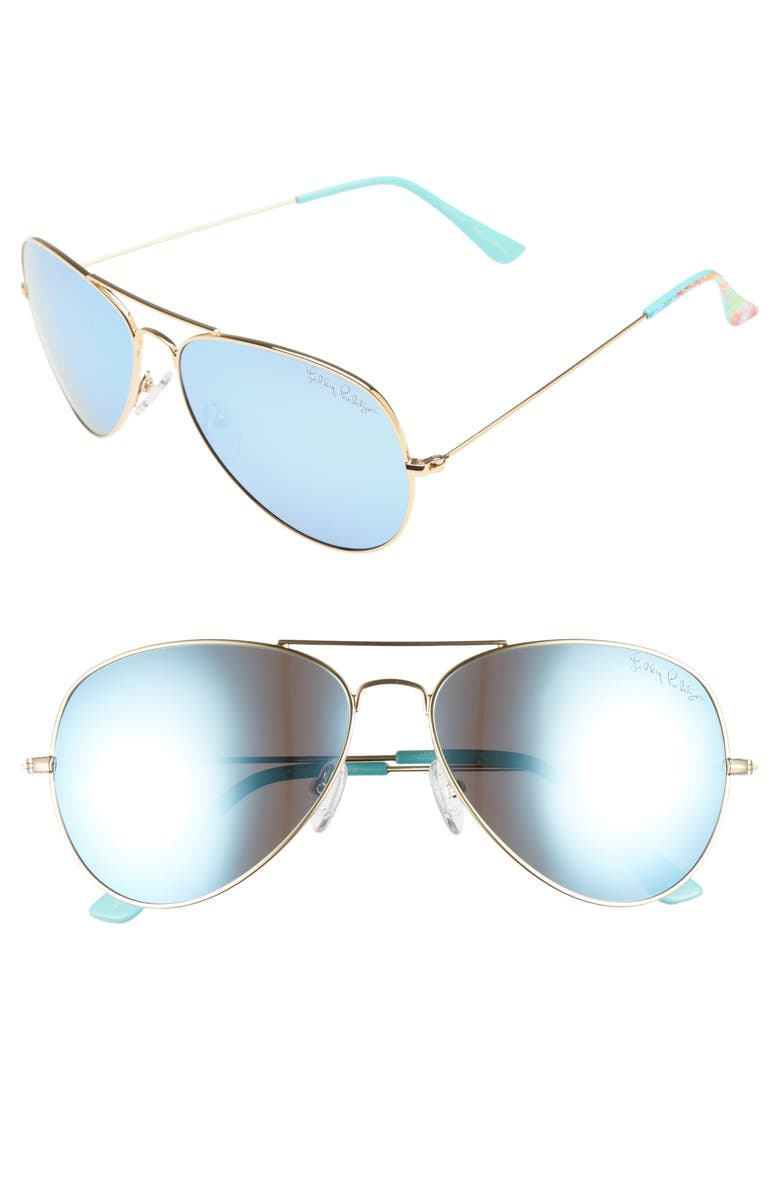 LILLY PULITZER<SUP>®</SUP> Lexy 59mm Polarized Aviator Sunglasses, Main, color, 400