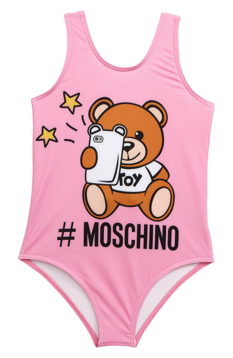 MOSCHINO Bear Logo Graphic One-Piece Swimsuit, Main, color, 650